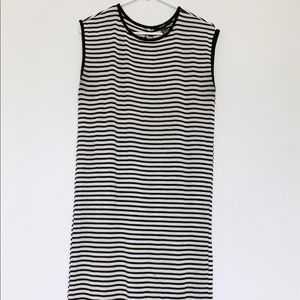 Black and white stripe maxi summer dress size m